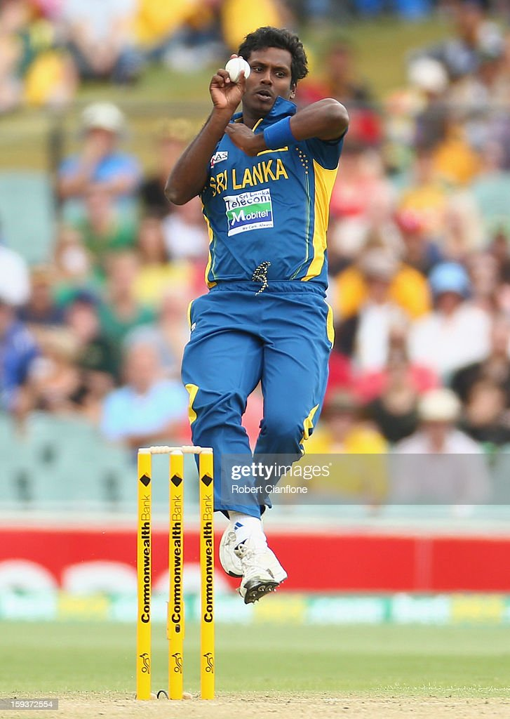 Angelo Mathews of Sri Lanka bowls during game two of the Commonwealth Bank One Day International series between Australia and Sri Lanka at Adelaide Oval on January 13, 2013 in Adelaide, Australia.