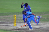 Angelo Mathews of Sri Lanka celebrates after running out Gautam Gambhir of India during the One Day International match between India and Sri Lanka...