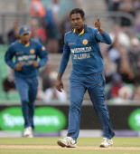 Angelo Mathews of Sri Lanka celebrates dismissing Ian Bell of England during the 1st Royal London One Day International match between England and Sri...