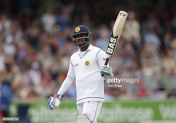 Angelo Mathews of Sri Lanka celebrates reaching his century during day four of 1st Investec Test match between England and Sri Lanka at Lord's...