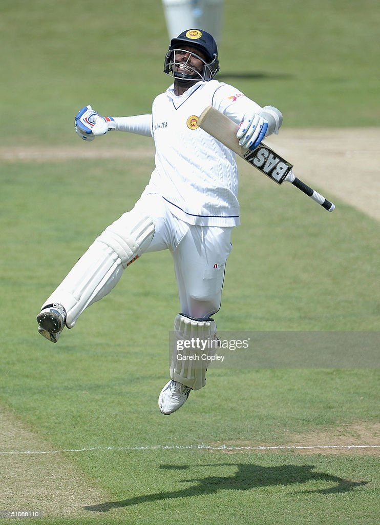 <a gi-track='captionPersonalityLinkClicked' href=/galleries/search?phrase=Angelo+Mathews&family=editorial&specificpeople=5622021 ng-click='$event.stopPropagation()'>Angelo Mathews</a> of Sri Lanka celebrates reaching his century during day four of 2nd Investec Test match between England and Sri Lanka at Headingley Cricket Ground on June 23, 2014 in Leeds, England.