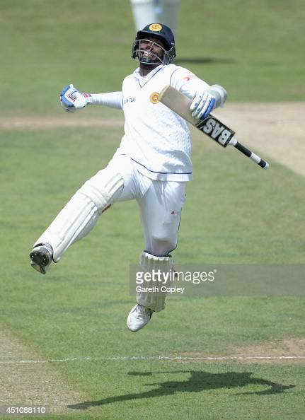 Angelo Mathews of Sri Lanka celebrates reaching his century during day four of 2nd Investec Test match between England and Sri Lanka at Headingley...