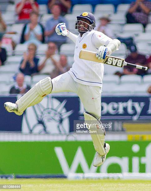 Angelo Mathews of Sri Lanka celebrates scoring a century during the 2nd Investec Test Match day four between England and Sri Lanka at Headingley...