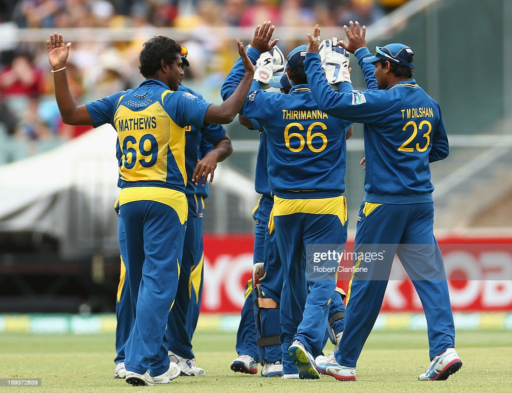 Angelo Mathews of Sri Lanka celebrates taking the wicket of Aaron Finch of Australia during game two of the Commonwealth Bank One Day International series between Australia and Sri Lanka at Adelaide Oval on January 13, 2013 in Adelaide, Australia.