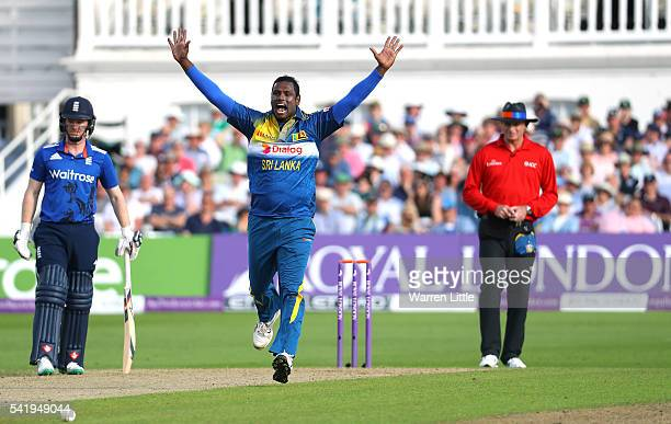 Angelo Mathews of Sri Lanka celebrates taking the wicket of Joe Root of England during of the 1st ODI Royal London One Day match between England and...