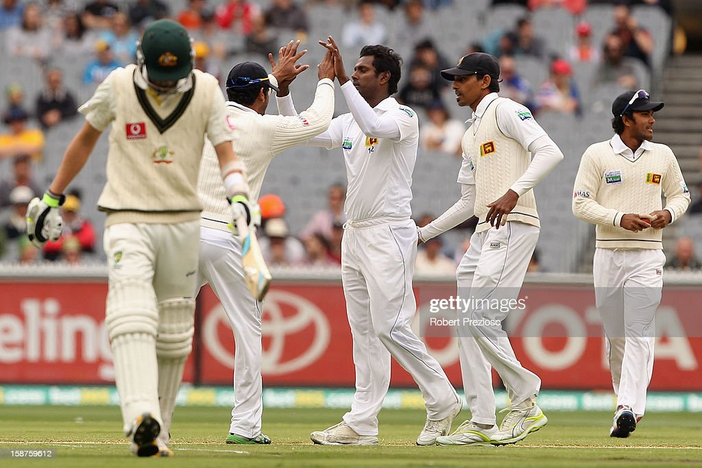 Angelo Mathews of Sri Lanka celebrates the wicket of Nathan Lyon of Australia during day three of the Second Test match between Australia and Sri Lanka at Melbourne Cricket Ground on December 28, 2012 in Melbourne, Australia.
