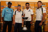 Angelo Mathews of Sri Lanka David Warner of Australia Virat Kohli of India and Ryan Harris of Australia pose for a photograph during the launch of...
