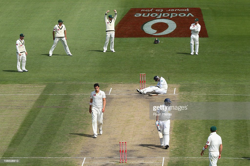Angelo Mathews of Sri Lanka falls to the ground after he was hit by a ball from Mitchell Starc of Australia during day five of the First Test match between Australia and Sri Lanka at Blundstone Arena on December 18, 2012 in Hobart, Australia.