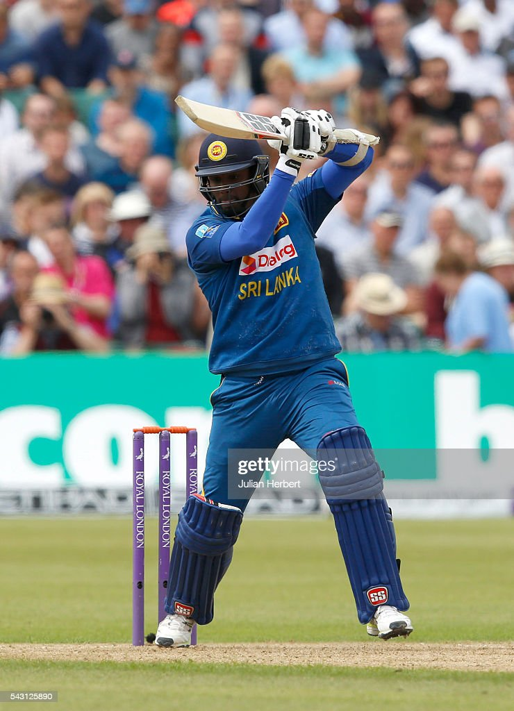 Angelo Mathews of Sri Lanka hits out during The 3rd ODI Royal London One-Day match between England and Sri Lanka at The County Ground on June 26, 2016 in Bristol, England.