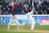 Angelo Mathews of Sri Lanka hits out for six runs during day three of the 2nd Investec Test match between England and Sri Lanka at Emirates Durham...
