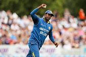Angelo Mathews of Sri Lanka holds a catch to dismiss Luke Ronchi of New Zealand during the One Day International match between New Zealand and Sri...