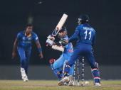 Angelo Mathews of Sri Lanka looks on as he bowls Ajinkya Rahane of India during the Final of the ICC World Twenty20 Bangladesh 2014 between India and...