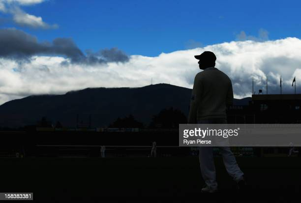 Angelo Mathews of Sri Lanka looks on in the field during day two of the First Test match between Australia and Sri Lanka at Blundstone Arena on...