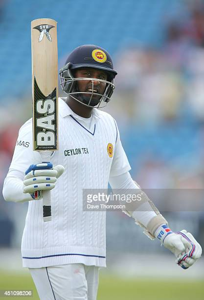Angelo Mathews of Sri Lanka makes his way back to the pavilion after being dismissed by James Anderson of England during day four of the 2nd Investec...