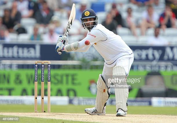 Angelo Mathews of Sri Lanka plays a shot on his way to reaching 100 during day four of the 2nd Investec Test match between England and Sri Lanka at...