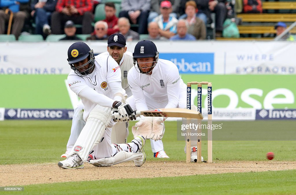 Angelo Mathews of Sri Lanka plays a sweep shot during day three of the 2nd Investec Test match between England and Sri Lanka at Emirates Durham ICG on May 29, 2016 in Chester-le-Street, United Kingdom.