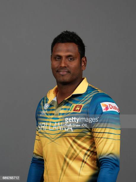 Angelo Mathews of Sri Lanka poses for a picture during the Sri Lanka Portrait Session for the ICC Champions Trophy at Grand Hyatt on May 27 2017 in...