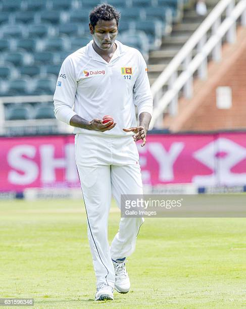 Angelo Mathews of Sri Lanka prepares to bowl during day 2 of the 3rd test between South Africa and Sri Lanka at Bidvest Wanderers Stadium on January...