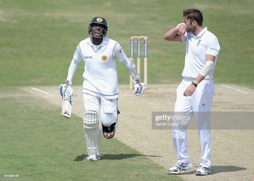 <a gi-track='captionPersonalityLinkClicked' href=/galleries/search?phrase=Angelo+Mathews&family=editorial&specificpeople=5622021 ng-click='$event.stopPropagation()'>Angelo Mathews</a> of Sri Lanka runs past <a gi-track='captionPersonalityLinkClicked' href=/galleries/search?phrase=Liam+Plunkett&family=editorial&specificpeople=535638 ng-click='$event.stopPropagation()'>Liam Plunkett</a> of England as he celebrates reaching his century during day four of 2nd Investec Test match between England and Sri Lanka at Headingley Cricket Ground on June 23, 2014 in Leeds, England.