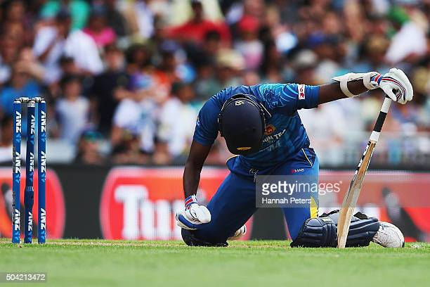 Angelo Mathews of Sri Lanka shows his frustration after not scoring a run off the last ball during the Twenty20 International match between New...