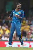 Angelo Mathews of Sri Lanka shows his frustration during the 2015 ICC Cricket World Cup match between Australia and Sri Lanka at Sydney Cricket...