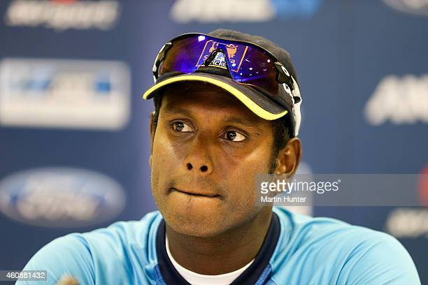 Angelo Mathews of Sri Lanka speaks to the media after day four of the First Test match between New Zealand and Sri Lanka at Hagley Oval on December...