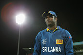 Angelo Mathews of Sri Lanka waits to speak to media during the 2015 Cricket World Cup match between Sri Lanka and Scotland at Bellerive Oval on March...