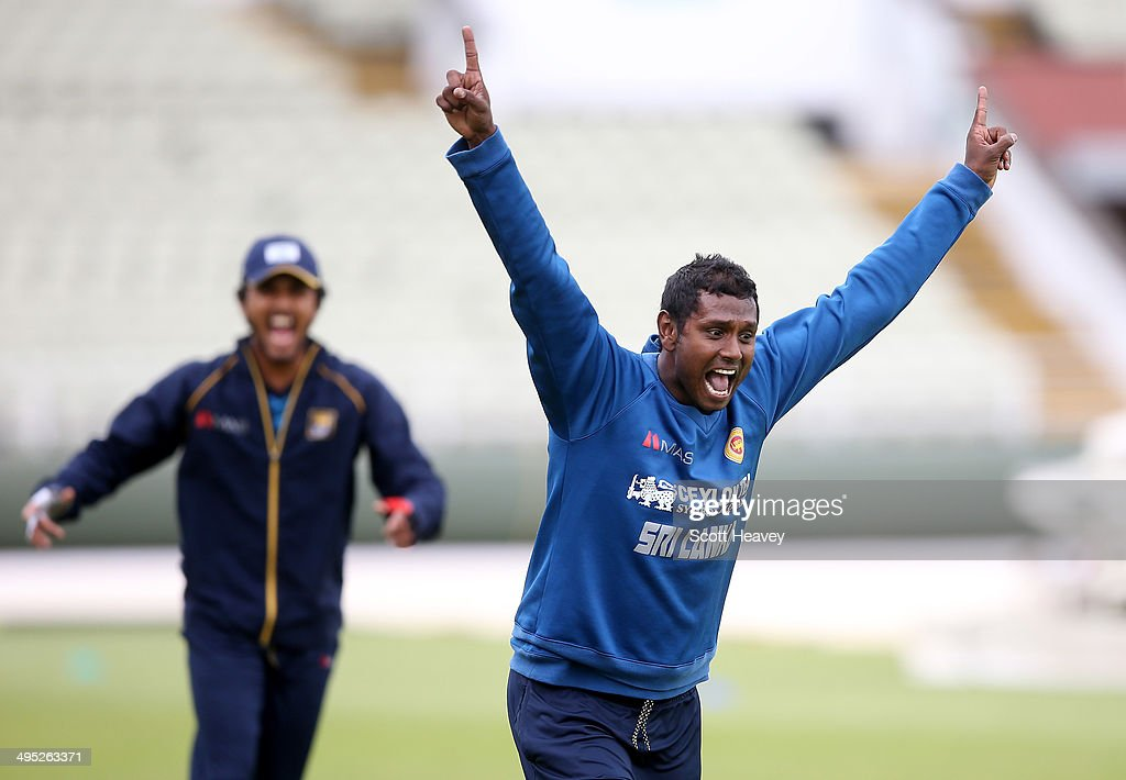 Angelo Matthews of Sri Lanka during a Sri Lanka nets session at Edgbaston on June 2, 2014 in Birmingham, England.