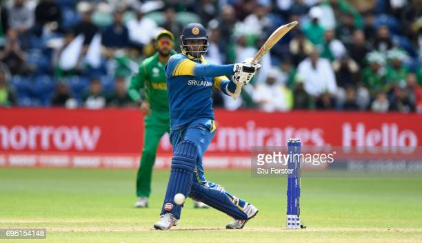 Angelo Matthews of Sri Lanka hits out during the ICC Champions League match between Sri Lanka and Pakistan at SWALEC Stadium on June 12 2017 in...