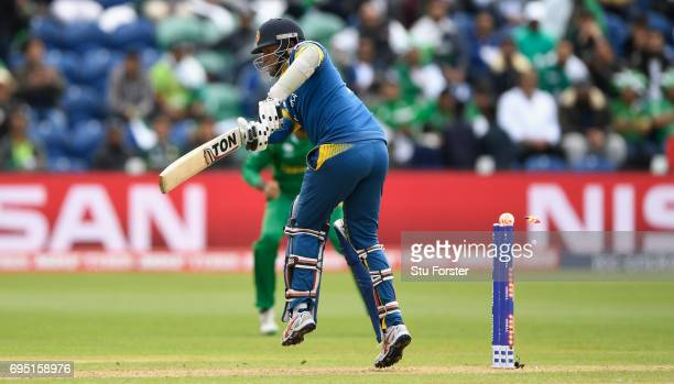 Angelo Matthews of Sri Lanka is bowled by Mohammad Amir during the ICC Champions League match between Sri Lanka and Pakistan at SWALEC Stadium on...