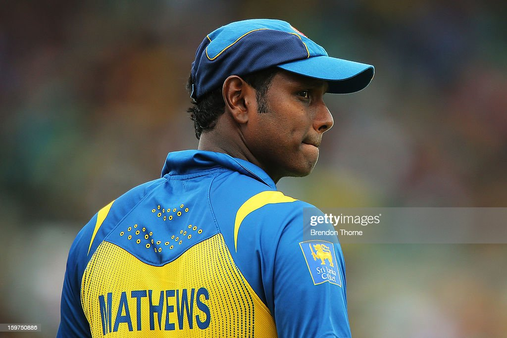 Angelo Matthews of Sri Lanka looks dejected after his bowlers concede another boundry during game four of the Commonwealth Bank one day international series between Australia and Sri Lanka at Sydney Cricket Ground on January 20, 2013 in Sydney, Australia.