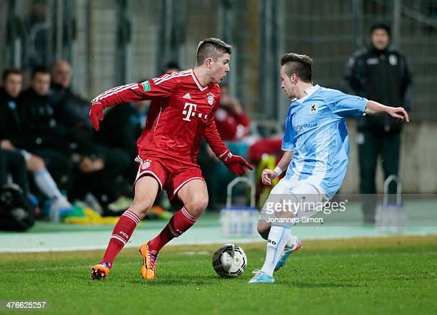 Angelo Mayer of 1860 Muenchen battles for the ball with Steeven Ribery of FC Bayern during the A Juniors Bundesliga match between 1860 Muenchen and...