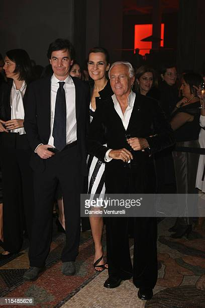 Angelo Moratti Roberta Armani and Giorgio Armani during Milan Fashion Week Fall/Winter 2007 Armani After Party in Milan Italy