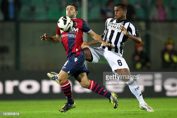 Angelo of AC Siena fights for the ball with Archimede Morleo of Bologna FC during the Serie A match between AC Siena and Bologna FC at Stadio Artemio...