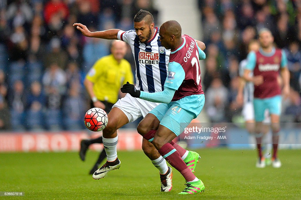 Angelo Ogbanna of West Ham United and Salomon Rondon of West Bromwich Albion compete during the Barclays Premier League match between West Bromwich Albion and West Ham United at The Hawthorns on April 30, 2016 in West Bromwich, United Kingdom.