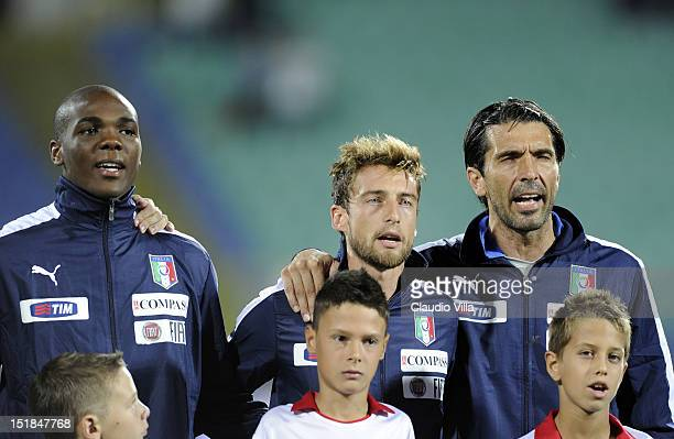 Angelo Ogbonna Claudio Marchisio and Gianluigi Buffon of Italy before the start of the FIFA 2014 World Cup Qualifier match between Bulgaria and Italy...