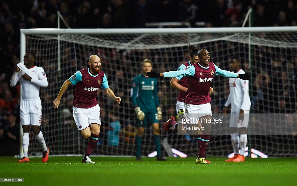 Angelo Ogbonna Obinza of West Ham United celebrates as he scores their second goal during the Emirates FA Cup Fourth Round Replay match between West Ham United and Liverpool at Boleyn Ground on February 9, 2016 in London, England.