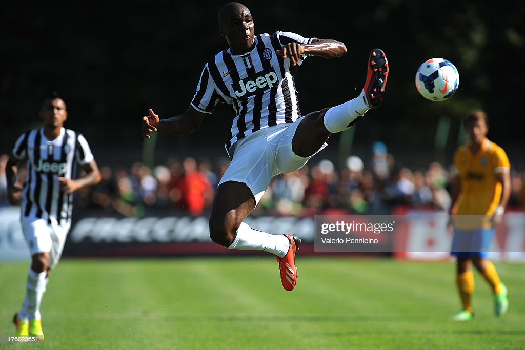 Angelo Ogbonna of FC Juventus controls the ball during the pre-season friendly match between FC Juventus A and FC Juventus B on August 11, 2013 in Villar Perosa near Pinerolo, Italy.