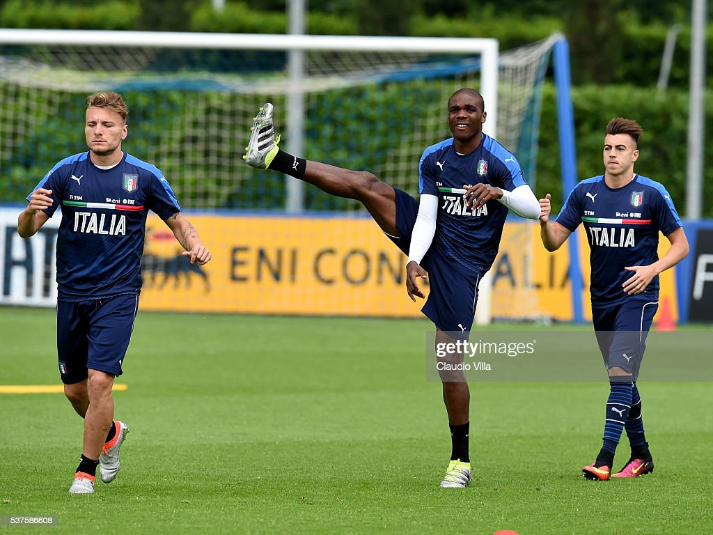 Angelo Ogbonna of Italy (C) in action during the Italy training session at the club's training ground at Coverciano on June 02, 2016 in Florence, Italy.