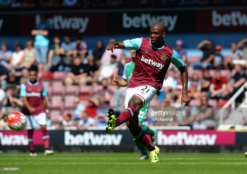 <a gi-track='captionPersonalityLinkClicked' href=/galleries/search?phrase=Angelo+Ogbonna&family=editorial&specificpeople=4285623 ng-click='$event.stopPropagation()'>Angelo Ogbonna</a> of West Ham United during the Betway Cup match between West Ham Utd and SV Werder Bremen at Boleyn Ground on August 2, 2015 in London, England.