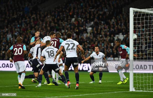 Angelo Ogbonna of West Ham United scores his sides first goal during the Carabao Cup Third Round match between West Ham United and Bolton Wanderers...