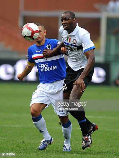 Angelo Palombo of UC Sampdoria and Patrick Vieira of FC Inter Milan compete for the ball during the Serie A match between UC Sampdoria and FC Inter...