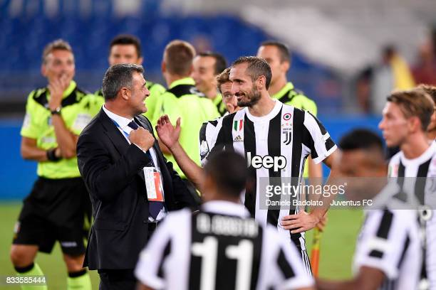 Angelo Peruzzi and giorgio Chiellini during the Italian Supercup match between Juventus and SS Lazio at Stadio Olimpico on August 13 2017 in Rome...