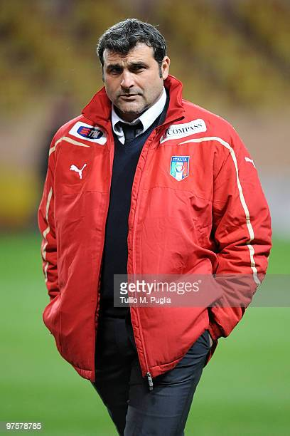 Angelo Peruzzi assistant coach of Italy looks on before the International Friendly match between Italy and Cameroon at Louis II Stadium on March 3...