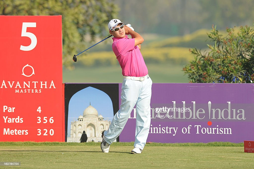 Angelo Que of Philippines in action during day 3 of the Avantha Masters at Jaypee Greens Golf Course on March 16, 2013 in Noida, India.