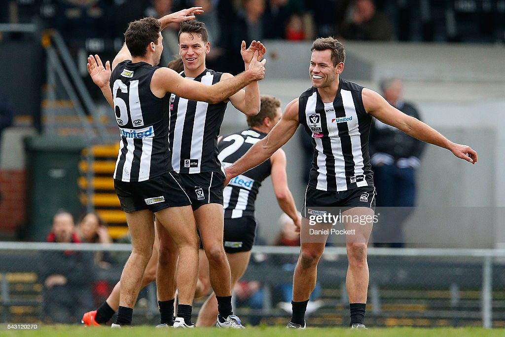 Angelo Rambaldi of the Magpies celebrates after kicking a goal during the round 12 VFL match between the Collingwood Magpies and the Richmond Tigers at Victoria Park on June 26, 2016 in Melbourne, Australia.