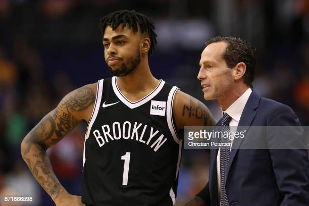 Angelo Russell and head coach Kenny Atkinson of the Brooklyn Nets during the NBA game against the Phoenix Suns at Talking Stick Resort Arena on...