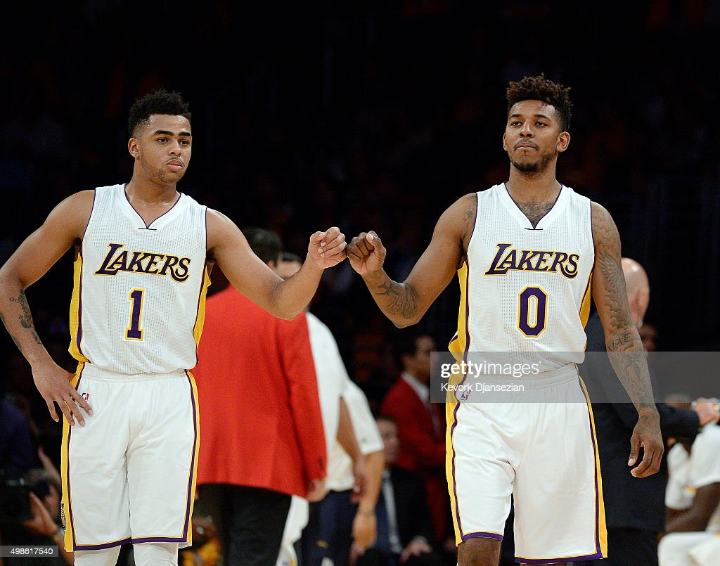angelo-russell-and-nick-young-of-the-los-angeles-lakers-pump-fists-picture-id498617540