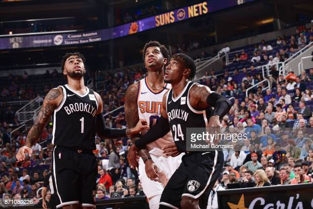 Angelo Russell and Rondae HollisJefferson of the Brooklyn Nets box out Marquese Chriss of the Phoenix Suns on November 6 2017 at Talking Stick Resort...