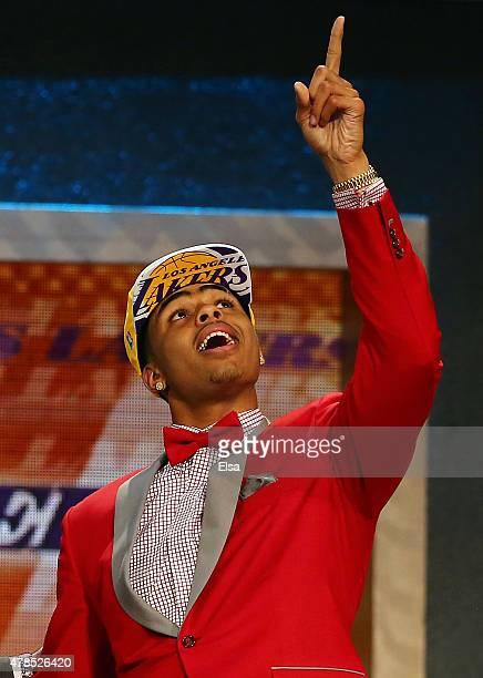 Angelo Russell celebrates after being drafted second overall by the Los Angeles Lakers in the First Round of the 2015 NBA Draft at the Barclays...